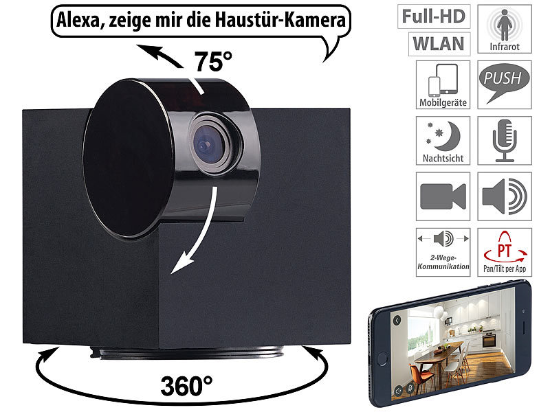 7links ip kamera wifi ip berwachungskamera full hd app pan tilt f r echo show wlan ip kamera. Black Bedroom Furniture Sets. Home Design Ideas
