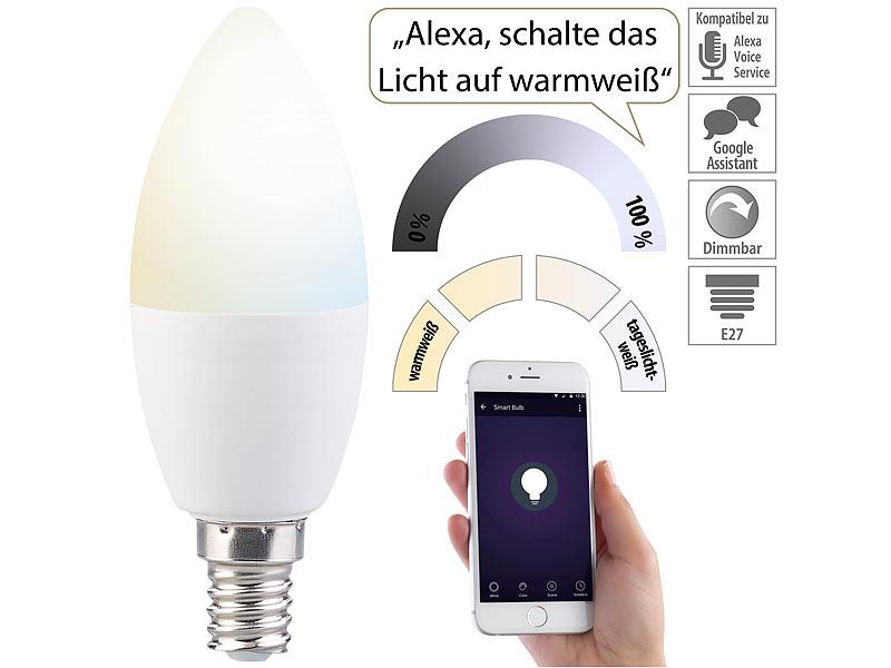 luminea leuchten alexa 3er set wlan led lampe amazon alexa google assistant komp e14 led. Black Bedroom Furniture Sets. Home Design Ideas