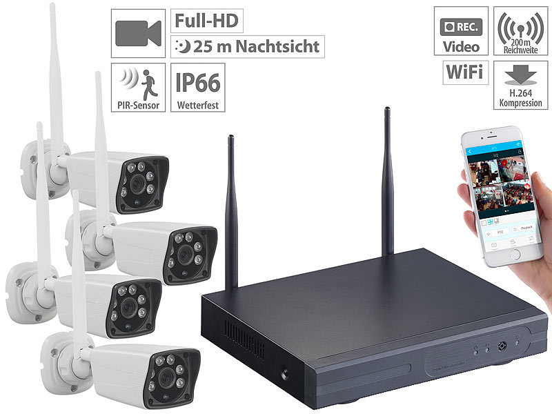 Funk-Überwachungs-Set, HDD-Rekorder, 4 Full-HD-Kameras, WLAN, App