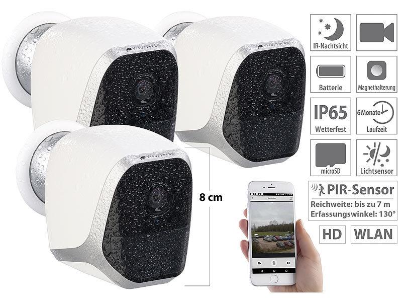visortech wlan kamera 3er set ip hd berwachungskameras mit app ip65 bis 6 monate laufzeit. Black Bedroom Furniture Sets. Home Design Ideas