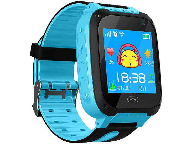 trackerid telefon uhr kinder smartwatch mit telefon gsm lbs tracking sos funktion blau. Black Bedroom Furniture Sets. Home Design Ideas