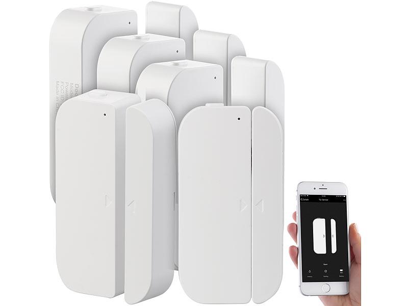 luminea fensteralarmsystem 5er set wifi t r fensteralarm alexa und google assistant komp. Black Bedroom Furniture Sets. Home Design Ideas