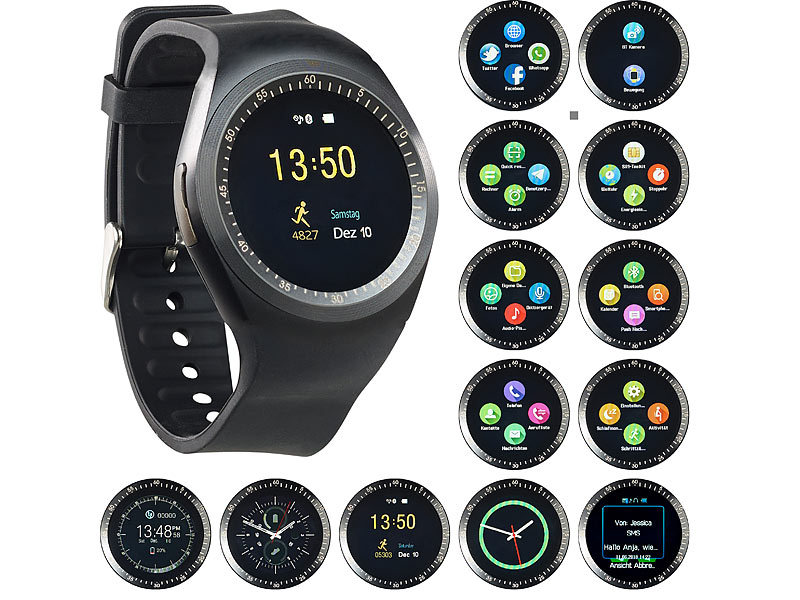 simvalley mobile uhrenhandy 2in1 uhren handy smartwatch. Black Bedroom Furniture Sets. Home Design Ideas