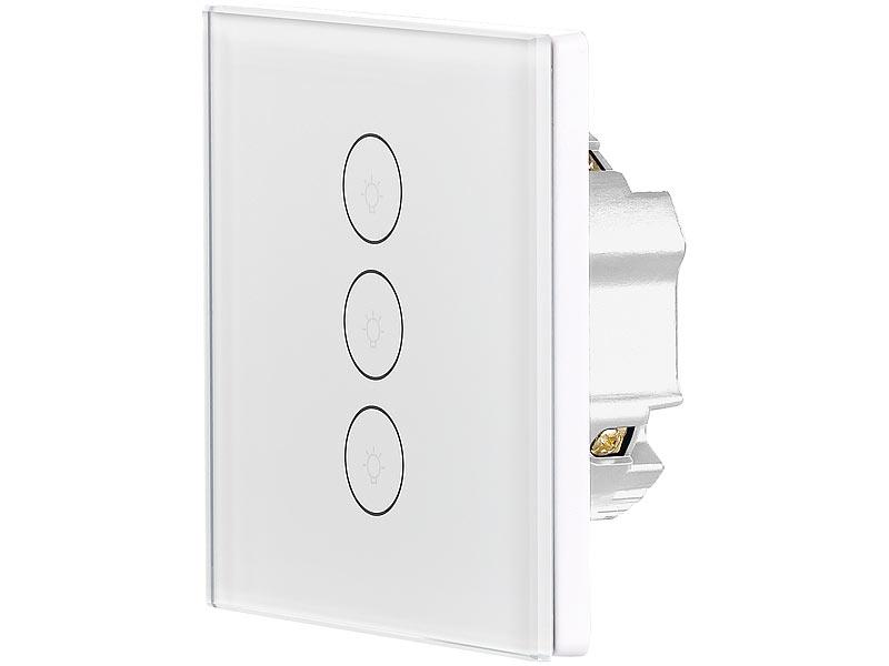 luminea home control touch schalter touch dreifach lichtschalter komp zu amazon alexa. Black Bedroom Furniture Sets. Home Design Ideas