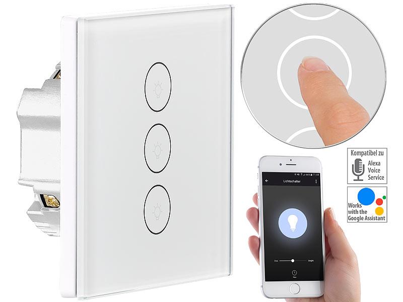 Luminea Home Control Touch Schalter Touch Dreifach Lichtschalter