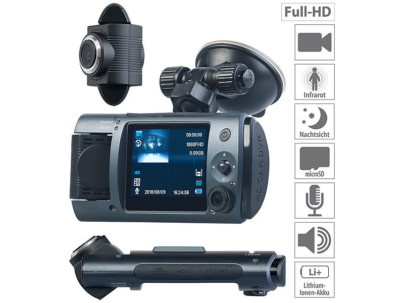 Full-HD-Dashcam mit 2 Objektiven, 150° Ultra-Weitwinkel, Sony-Sensor