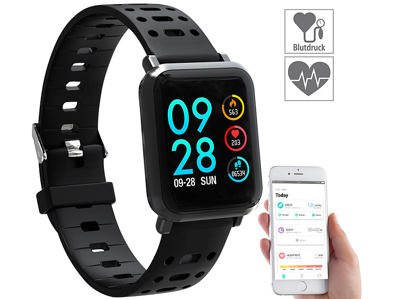 newgen medicals smartwatch fitness uhr mit blutdruck. Black Bedroom Furniture Sets. Home Design Ideas