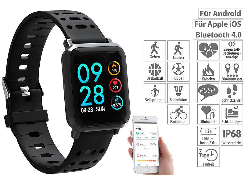 newgen medicals smartwatch fitness uhr mit blutdruck herzfrequenz anzeige bluetooth ip68. Black Bedroom Furniture Sets. Home Design Ideas