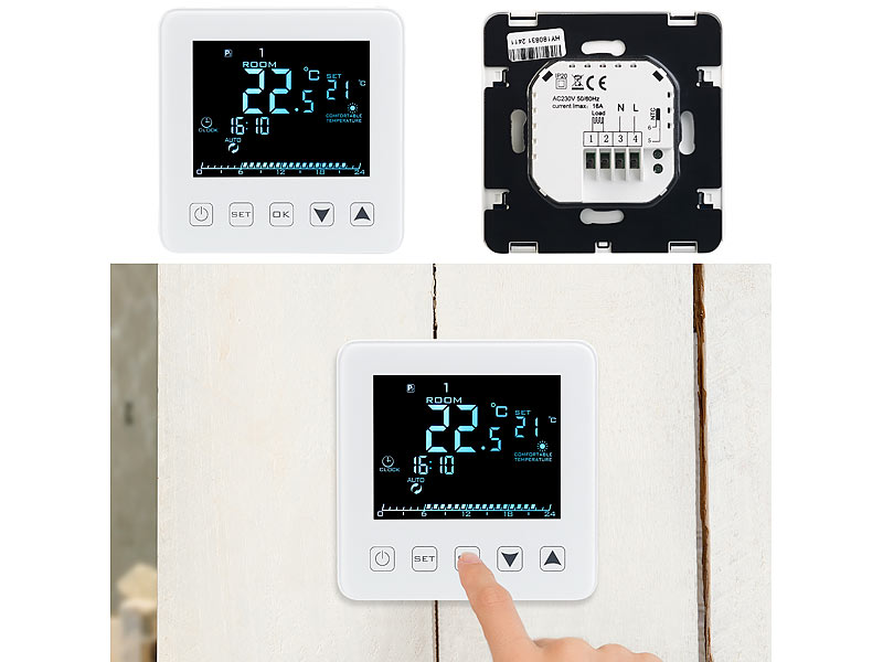 revolt wand thermostat f r fu bodenheizung lcd touch tasten programmierbar. Black Bedroom Furniture Sets. Home Design Ideas