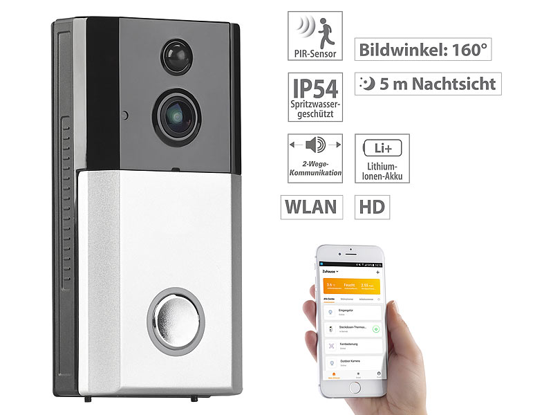 somikon doorbell wlan hd video t rklingel mit app gegensprechen 160 bildwinkel ip54. Black Bedroom Furniture Sets. Home Design Ideas