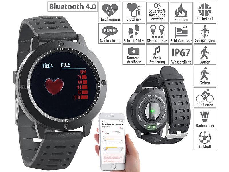 newgen medicals smartwatch fitness uhr touch farbdisplay blutdruck herzfrequenzanzeige. Black Bedroom Furniture Sets. Home Design Ideas