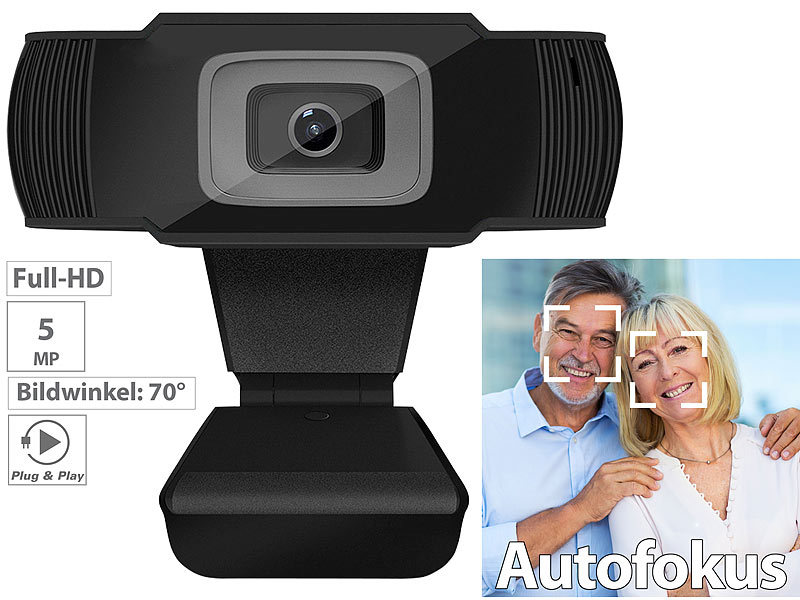 Full-HD-USB-Webcam mit 5 MP, Autofokus und Dual-Stereo-Mikrofon