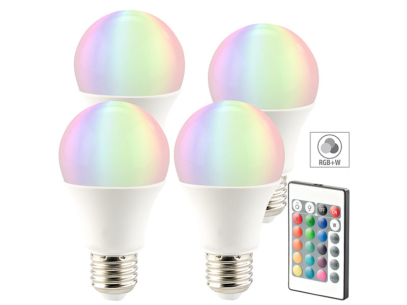Luminea LED Farbwechsel: LED-Lampe in RGB + Warmweiß, E27, 10 Watt ...