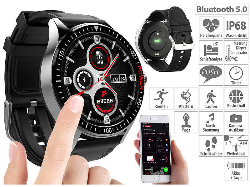 Smartwatch mit Always-On-Display, Bluetooth, App, Herzfrequenz, IP68