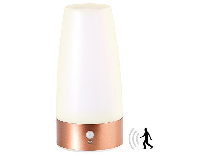 lunartec led tischlampe mit pir bewegungs sensor batterie betrieben warmwei. Black Bedroom Furniture Sets. Home Design Ideas