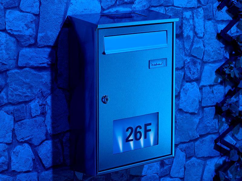 lunartec edelstahl briefkasten mit solar leucht hausnummer. Black Bedroom Furniture Sets. Home Design Ideas