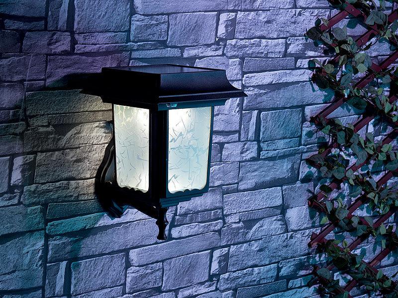 Lunartec Außenwandleuchte Solar: Solar-LED-Wandleuchte mit 8 LEDs ...