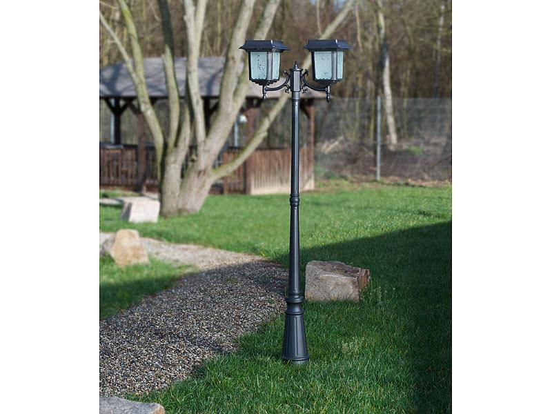 lunartec 2 flammige solar led gartenlaterne 140 lm 2x 4. Black Bedroom Furniture Sets. Home Design Ideas