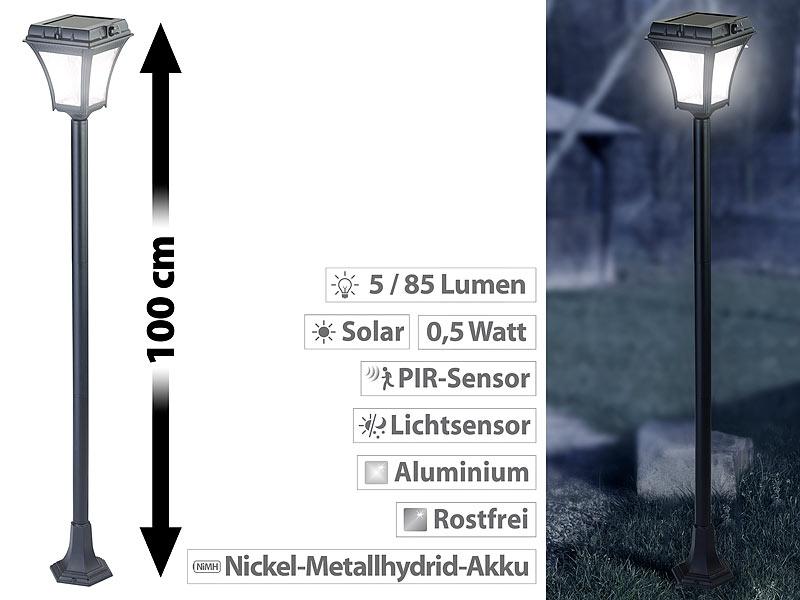 lunartec standleuchte solar led wegeleuchte mit bewegungssensor aluminum 0 5 w solarpanel. Black Bedroom Furniture Sets. Home Design Ideas