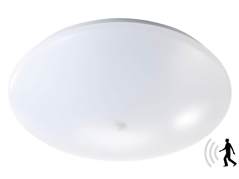 luminea led wand deckenleuchte mit pir sensor 20 w 38 cm warmwei. Black Bedroom Furniture Sets. Home Design Ideas