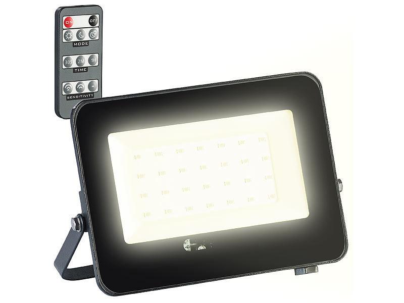 luminea gartenbeleuchtung wetterfester led fluter radar bewegungssensor fernbedienung 20 w. Black Bedroom Furniture Sets. Home Design Ideas