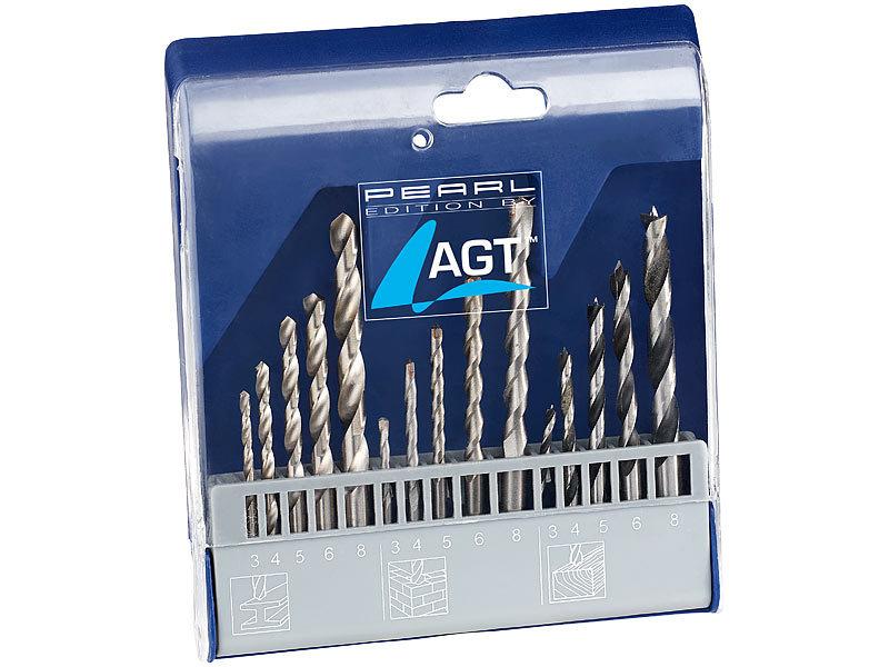 Fabelhaft AGT Holzbohrer: Bohrer-Set 15-tlg. mit HSS-Metallbohrer, Holz #PC_94