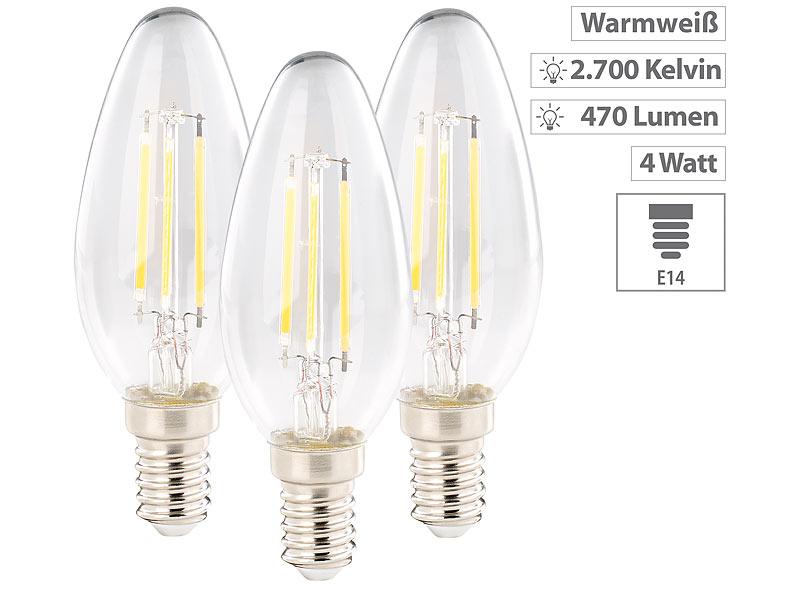 luminea led lampe e14 warmwei led filament kerze e14 a 4 watt 470 lumen 360 warmwei. Black Bedroom Furniture Sets. Home Design Ideas