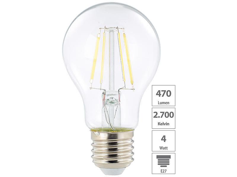 luminea e27 led filament lampen led filament birne a e27 4 watt 470 lumen 360 warmwei. Black Bedroom Furniture Sets. Home Design Ideas