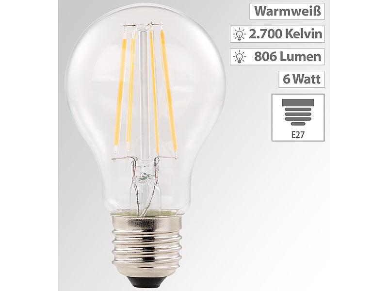 Luminea LED Lampe E27: LED-Filament-Birne, E27, A++, 6 Watt, 806 ...