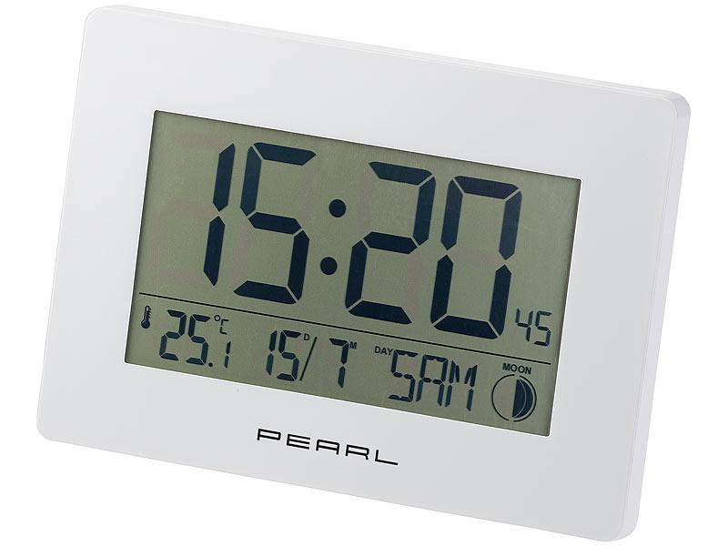 pearl lcd uhr funk wanduhr mit jumbo uhrzeit temperatur datums anzeige wei tischuhren. Black Bedroom Furniture Sets. Home Design Ideas