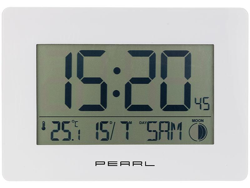 pearl lcd uhr funk wanduhr mit jumbo uhrzeit temperatur datums anzeige wei uhr mit. Black Bedroom Furniture Sets. Home Design Ideas