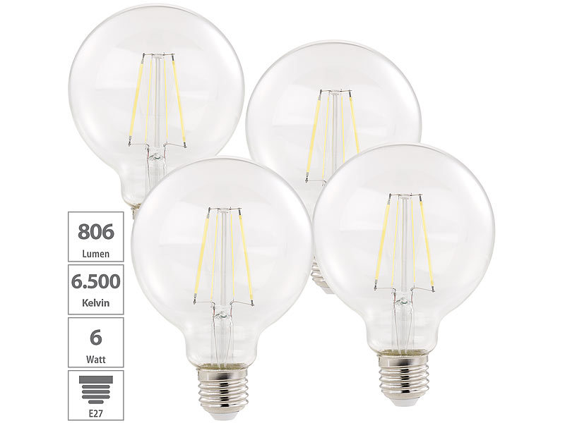 Luminea LED Globe: 4er-Set LED-Filament-Birnen, E27, A