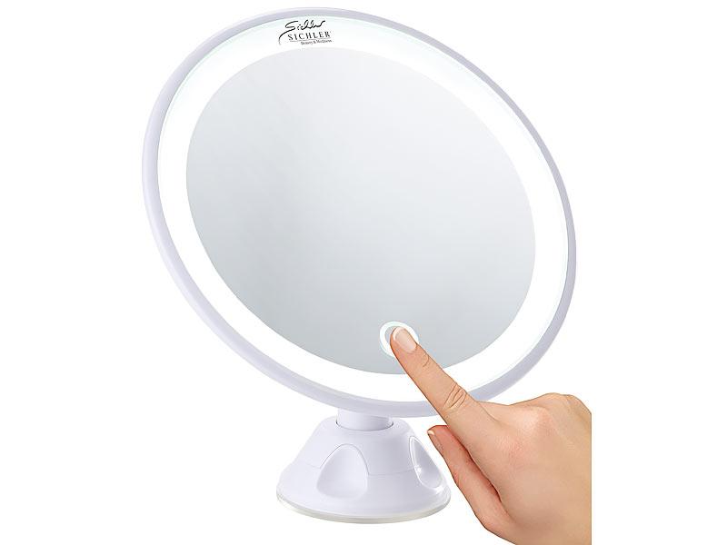 sichler beauty spiegel saugnapf kosmetikspiegel mit led licht und akku 5 fache vergr erung. Black Bedroom Furniture Sets. Home Design Ideas