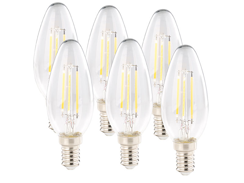 luminea leuchtmittel e14 4er set led filament kerzen e14 a 4watt 470 lumen 360 warmwei. Black Bedroom Furniture Sets. Home Design Ideas
