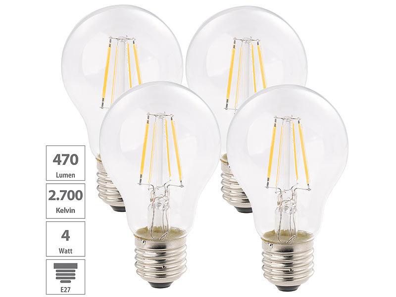 luminea led fadenlampen e27 led filament birne a e27 4 w 470 lm 360 warmwei 4er set. Black Bedroom Furniture Sets. Home Design Ideas