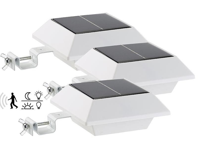 lunartec solar dach rinnen fluter solar led dachrinnenleuchte 160 lm 2 w pir sensor wei. Black Bedroom Furniture Sets. Home Design Ideas