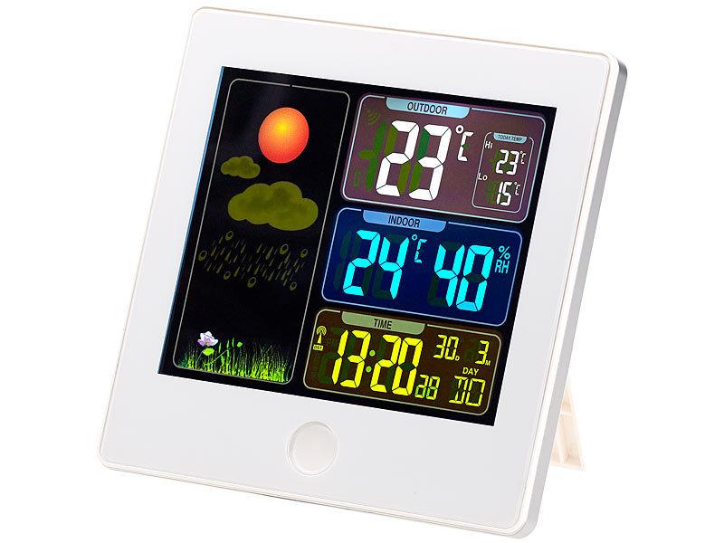 Wetterstationen Uhren & Schmuck Digitale Funkwetterstation Funk Wetterstation Mit Großem Farbdisplay Außensensor