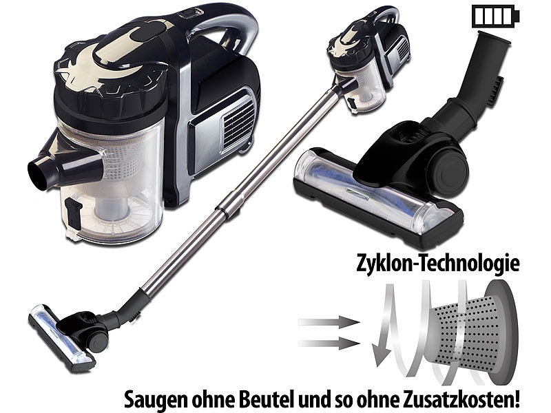 Sichler Akkusauger: 2in1-Akku-Zyklon-Staubsauger, Aufsatz-Bürste ...