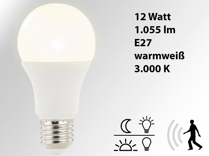 luminea sensor lampe led lampe mit radar bewegungs und lichtsensor 12 w e27 warmwei led. Black Bedroom Furniture Sets. Home Design Ideas