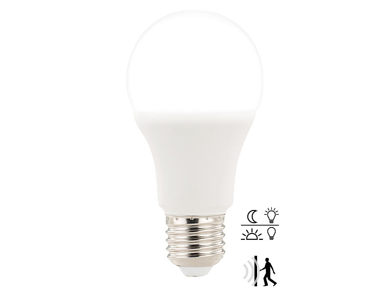 luminea bewegungsmelder birne e27 led lampe mit radar bewegungs lichtsensor 12 w. Black Bedroom Furniture Sets. Home Design Ideas
