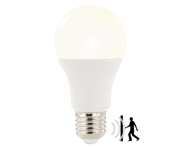 luminea led lampe mit radar bewegungssensor 12 w e27 warmwei k. Black Bedroom Furniture Sets. Home Design Ideas