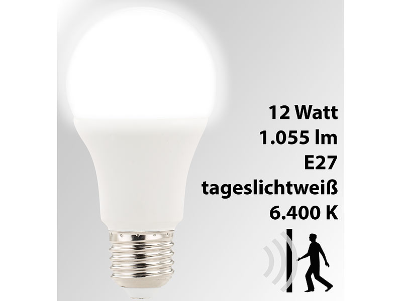 Luminea Led Birne E27 Led Lampe Mit Radar Bewegungssensor 12 W