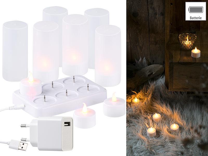 lunartec 6 led akku teelichter flackernde flamme teelichthalter ladestation. Black Bedroom Furniture Sets. Home Design Ideas