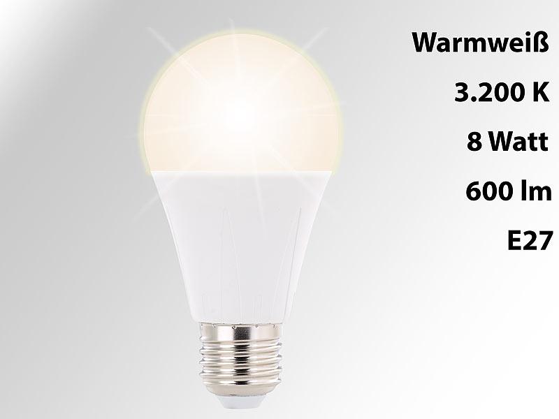 luminea led lampe e27 8 watt 600 lumen 270 warmwei 3200 kelvin. Black Bedroom Furniture Sets. Home Design Ideas