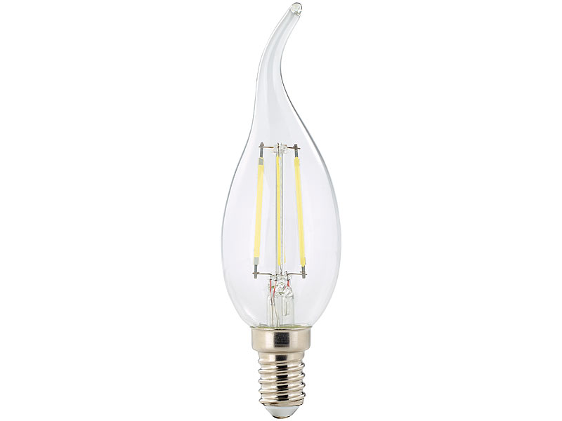 4 W 10er-Set Luminea LED-Filament-Kerze B35 6.500 K 470 lm 360° E14