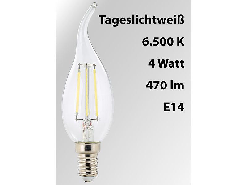 LED-Filament-Kerze, Ba35, E14, 470 lm, 4 W, 360°, 6.500 K