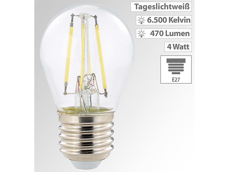 LED Lampen E27: Luminea LED Filament Tropfen E27, G45 Form,