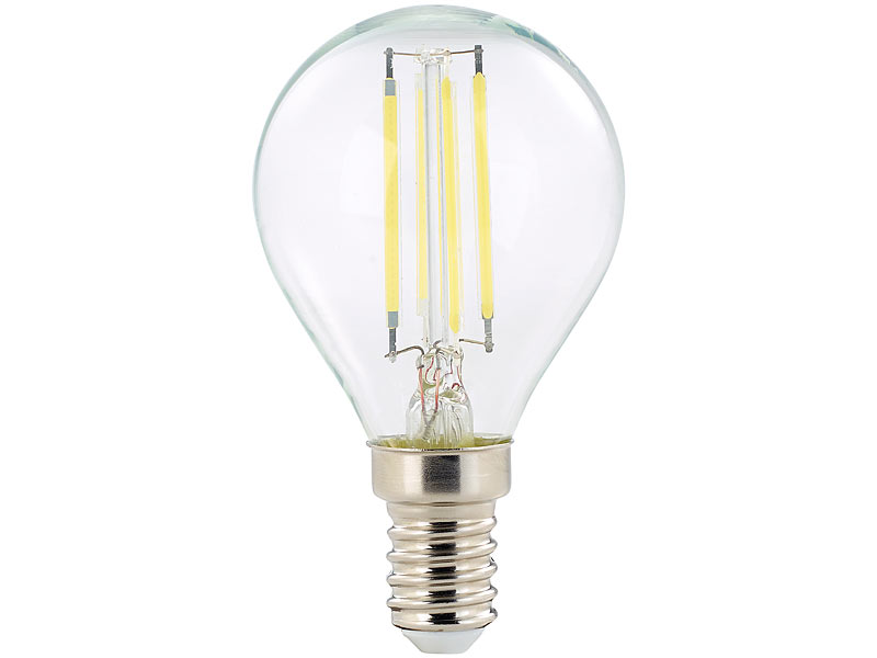 10er-Set 360° G45 4 W E14 6.500 K Luminea LED-Filament-Lampen 470 lm