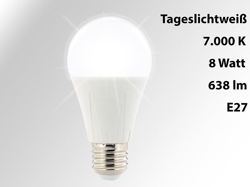 Luminea LED Tageslichtlampe E27: LED-Lampe E27, 638 Lumen, 8 Watt ...