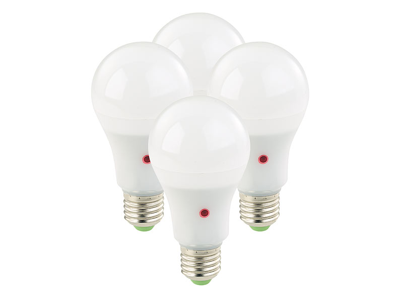 Luminea LED Leuchte: 4er-Set LED-Lampen mit Dämmerungssensor, E27 ...
